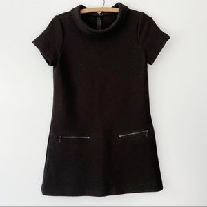 New Theory Mod Black Wool Mini Tunic Dress Top - 2